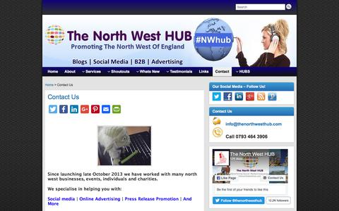 Screenshot of Contact Page thenorthwesthub.com - Contact The North West HUB - captured Sept. 22, 2018