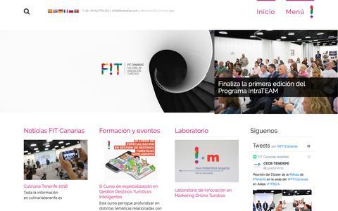 Screenshot of Home Page fitcanarias.com - FIT Canarias | Factoría de Innovación Turística - captured Oct. 21, 2018