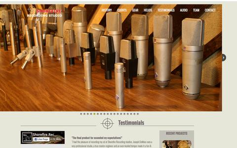 Screenshot of Testimonials Page shorefirerecordingstudios.com - Testimonials - captured Jan. 13, 2016