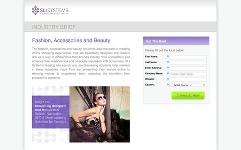Screenshot of Landing Page sli-systems.com - Fashion, Accessories and Beauty Industry Brief - captured Feb. 25, 2016