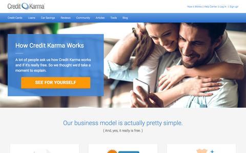 Screenshot of creditkarma.com - How it Works | Credit Karma - captured Aug. 31, 2016