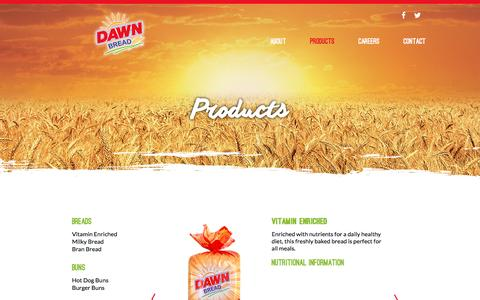 Screenshot of Products Page dawnbread.com - Dawn Bread - captured Aug. 1, 2016