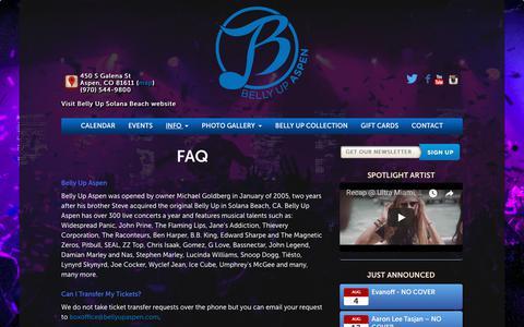Screenshot of FAQ Page bellyupaspen.com - FAQ - Belly Up Aspen - captured Aug. 1, 2018