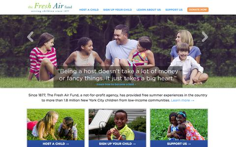Screenshot of Home Page freshair.org - The Fresh Air Fund / Home - captured Oct. 9, 2014