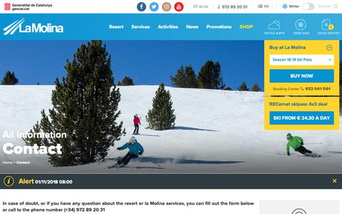 Screenshot of Contact Page lamolina.cat - Contact | La Molina - captured Nov. 9, 2018