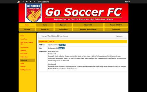 Screenshot of Maps & Directions Page gosoccerfc.com - Home Facilities Directions | Go Soccer FC @ Bridgewater NJ - captured Sept. 30, 2014
