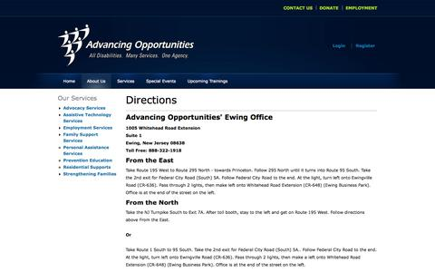 Screenshot of Maps & Directions Page advopps.org - Directions to Advancing Opportunities | Advancing Opportunities - captured Oct. 1, 2014