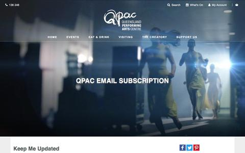 Screenshot of Signup Page qpac.com.au - QPAC Email Subscription - Queensland Performing Arts Centre (QPAC) - captured July 15, 2018