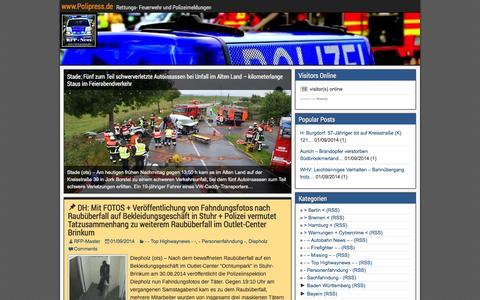 Screenshot of Home Page polipress.de - www.Polipress.de - Rettungs- Feuerwehr und Polizeimeldungen - captured Sept. 22, 2014