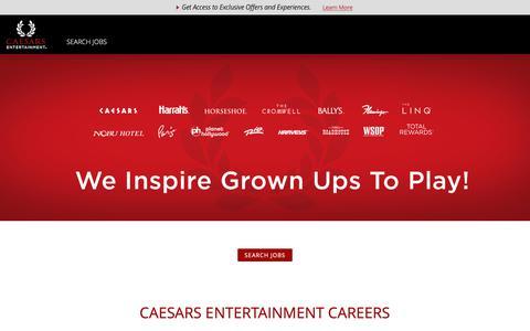 Screenshot of Jobs Page caesars.com - Caesars Entertainment Jobs and Careers - captured April 18, 2019