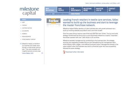 Screenshot of Case Studies Page milestone-capital.com - Case Studies - captured Oct. 7, 2014