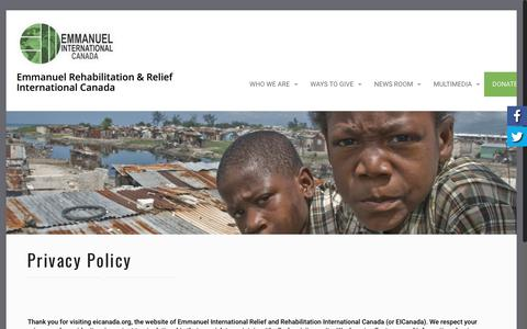 Screenshot of Privacy Page eicanada.org - Privacy Policy – Emmanuel Rehabilitation & Relief International Canada - captured Sept. 28, 2018
