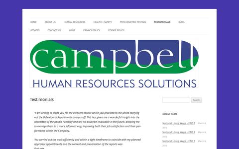 Screenshot of Testimonials Page campbellhrsolutions.co.uk - Testimonials | Campbell Human Resources Solutions - captured Oct. 20, 2016