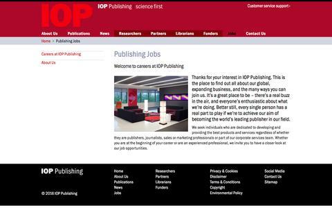 Screenshot of Jobs Page ioppublishing.org - Publishing Jobs | IOP Publishing - captured July 13, 2016