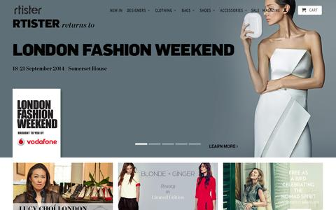 Screenshot of Home Page rtister.com - Rtister | Luxury Women's Designer Fashion by Contemporary Designers - captured Sept. 22, 2014