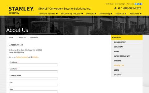 Screenshot of Contact Page stanleycss.com - Contact Us - captured Oct. 1, 2014