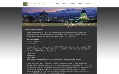 Screenshot of Testimonials Page titlewest.com - Commercial Testimonials - Title West : Utah Title Services Company, 1031 Exchange - captured Oct. 9, 2014