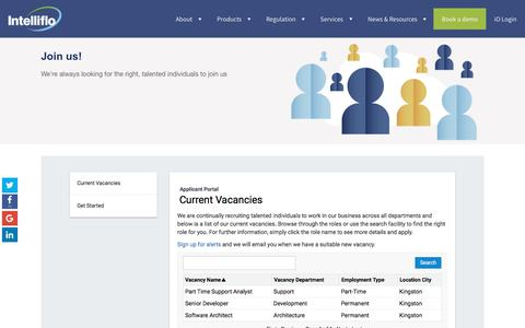 Screenshot of Jobs Page intelliflo.com - We're hiring! View our job vacancies here - captured March 8, 2018