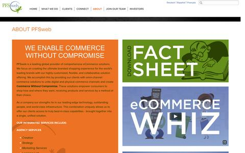 Screenshot of About Page pfsweb.com - Global provider of eCommerce solutions including omni-channel commerce solutions and omni-channel order fulfillment. - captured June 16, 2015