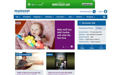 Screenshot of Home Page mumsnet.com - Mumsnet - the UK's most popular website for parents. Advice, support, reviews, discounts, competitions and much more - captured Sept. 20, 2018