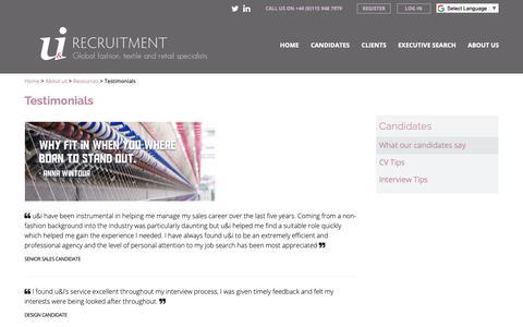 Screenshot of Testimonials Page uandirecruitment.co.uk - Testimonials - u&i Recruitment - captured Oct. 18, 2018