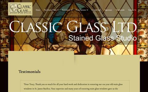 Screenshot of Testimonials Page classicglassstudio.com - Classic Glass - captured Sept. 28, 2018