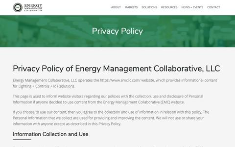 Screenshot of Privacy Page emcllc.com - Privacy Policy :: Energy Management Collaborative, LLC - captured Oct. 2, 2018