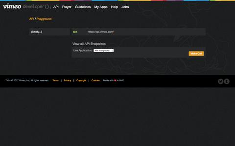 Screenshot of Developers Page vimeo.com - API Playground on Vimeo on Vimeo Developer API - captured April 10, 2017