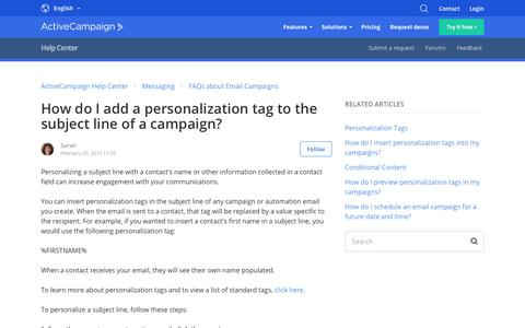 Screenshot of Support Page activecampaign.com - How do I add a personalization tag to the subject line of a campaign?  – ActiveCampaign Help Center - captured June 18, 2019