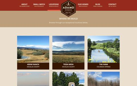 Screenshot of Locations Page adamohomes.com - Communities / Locations | Colorado Homebuilder | Adamo Homes - captured Feb. 5, 2016
