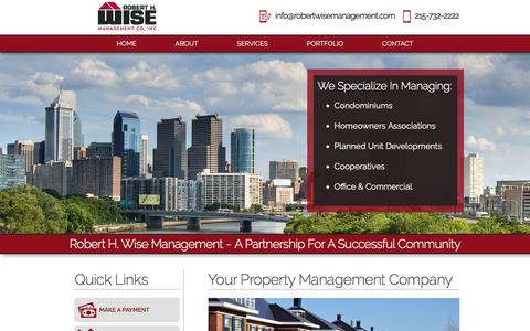 Screenshot of Home Page robertwisemanagement.com - Property Association Management | Philadelphia PA - captured Feb. 15, 2016