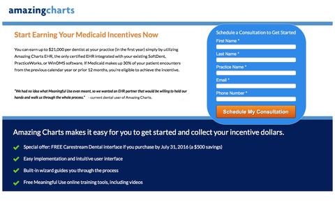Screenshot of Landing Page amazingcharts.com - Start Earning Your Medicaid Incentives Now - captured July 13, 2016