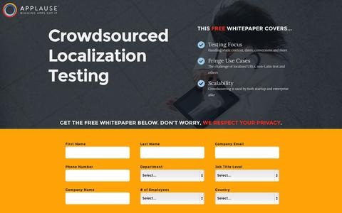 Screenshot of Landing Page applause.com - Crowdsourced Localization Testing - Applause: 360° App Quality - captured Oct. 27, 2014