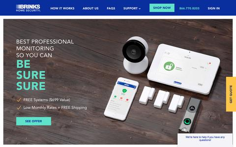 Screenshot of Home Page brinkshome.com - Brinks Home Security - Affordable, Customized Solutions | Brinks Home - captured Aug. 20, 2018