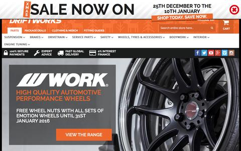 Screenshot of Home Page driftworks.com - Driftworks, Drift performance parts direct to your door - captured Dec. 24, 2015