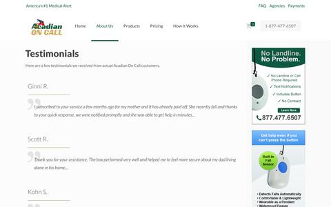 Screenshot of Testimonials Page acadianoncall.com - Medical Alert Testimonials | Medical Alert | Acadian On Call - captured Oct. 21, 2018