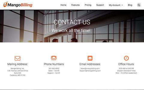 Screenshot of Contact Page mangobilling.com - Billing software |Support | MangoBilling - captured Feb. 4, 2016