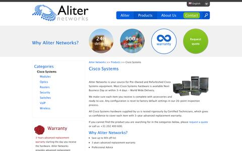 Screenshot of Products Page aliternetworks.com - Refurbished and Pre-Owned Cisco Systems - captured Sept. 30, 2014