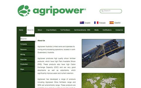 Screenshot of About Page agripower.com.au - Silicon Fertilisers to improve crop yields and quality - captured Nov. 20, 2016