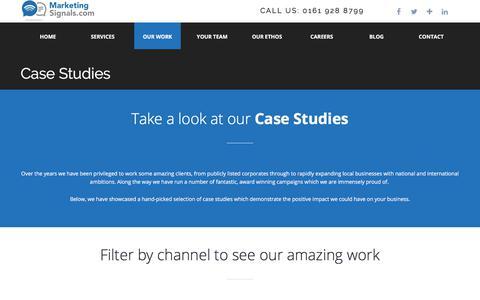 Screenshot of Case Studies Page marketingsignals.com - Case Studies | Marketing Signals - captured Sept. 22, 2018