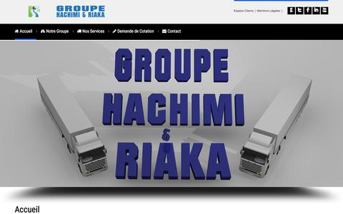 Screenshot of Home Page groupehachimi.com - Transport de marchandises et Logistique au Maroc - Groupe Hachimi & Riaka - captured Feb. 1, 2016