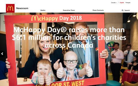 Screenshot of Press Page mcdonalds.ca - McDonald's Canada - Newsroom - captured Dec. 20, 2018