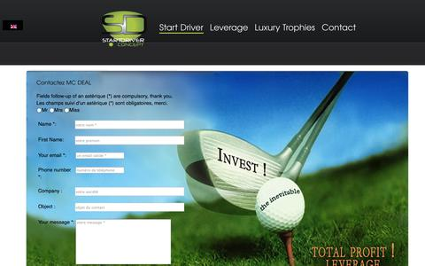 Screenshot of Contact Page start-driver.com - L'univers Golfique START DRIVER du 21 ème siecle - captured Sept. 30, 2014