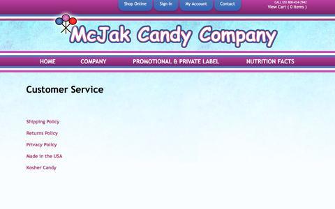 Screenshot of Support Page mcjakcandy.com - Customer Service - captured Nov. 28, 2016