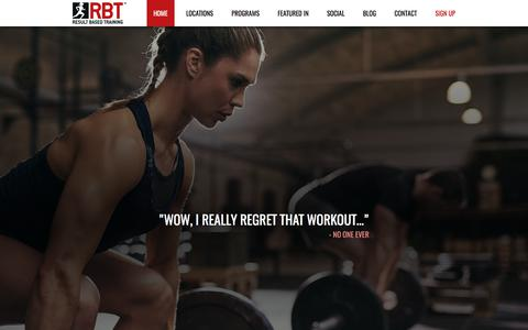 Screenshot of Home Page rbtgyms.com - RBT Gyms - Body Transformation Gyms in Australia and USA - captured July 9, 2018