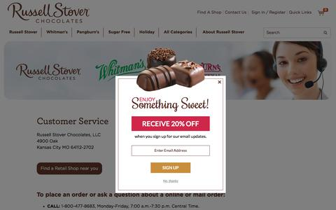 Screenshot of Support Page russellstover.com - Customer Service | Russell Stover Chocolates - captured Nov. 6, 2017