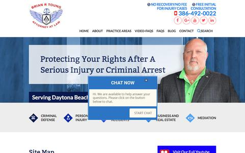 Screenshot of Site Map Page briantoung.com - Site Map | The Law Office of Brian R. Toung, P.A. | Daytona Beach, FL - captured June 29, 2018