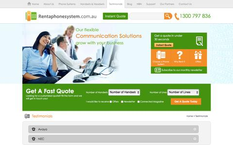 Screenshot of Testimonials Page rentaphonesystem.com.au - Business Phone Systems, Small and Medium Office Telephone Systems | Home - captured Jan. 15, 2016