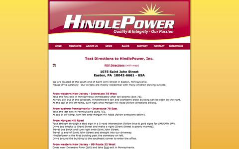Screenshot of Maps & Directions Page hindlepowerinc.com - Text Directions to HindlePower, Inc. - captured Sept. 30, 2014