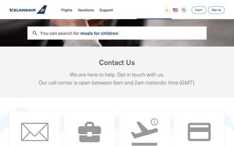 Screenshot of Contact Page icelandair.com - Contact Us   Icelandair - captured Sept. 12, 2018